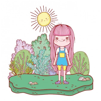 Petite fille avec des personnages de soleil kawaii