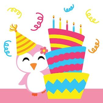 Petite fille pingouin avec un dessin animé de vecteur de gâteau d'anniversaire, carte postale d'anniversaire, fond d'écran et carte de voeux, conception de t-shirt pour enfants