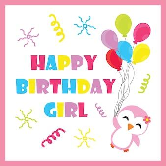 Petite fille pingouin avec des dessins animés de vecteur de ballons d'anniversaire, carte postale d'anniversaire, papier peint et carte de voeux, design de t-shirt pour enfants