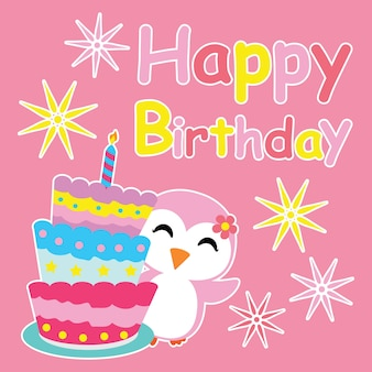 La petite fille pingouin sourit à côté de dessin animé anniversaire, carte postale d'anniversaire, papier peint et carte de voeux, design t-shirt pour enfants