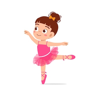 Petite fille porte un beau costume de ballerine et danse