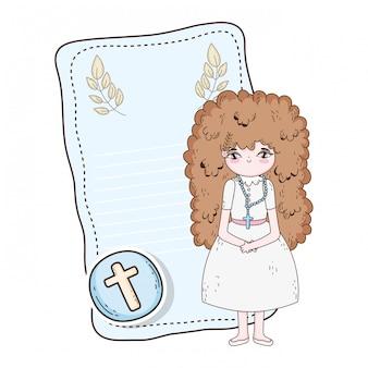 Petite fille en première carte de communion
