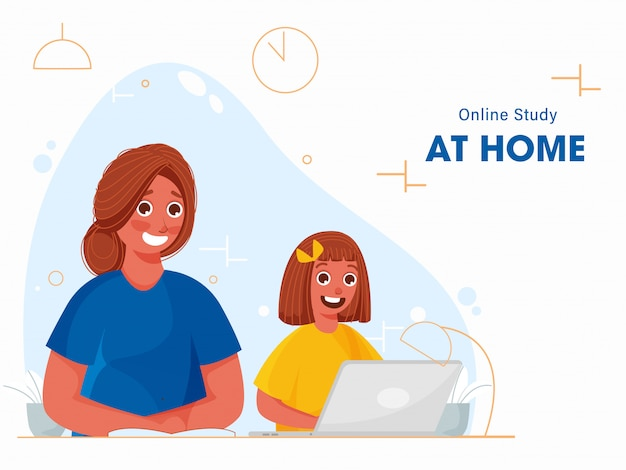 Petite fille prenant une étude en ligne à partir d'un ordinateur portable à la maison et jeune femme écrivant sur un livre pendant la pandémie de coronavirus.