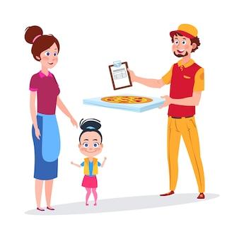 Une petite fille et sa mère reçoivent une livraison de pizza