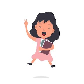 Petite fille avec un sac à dos saute. écolière joyeuse. convient pour la conception de l'école ou des vacances. isolé. vecteur.