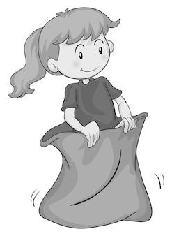 Petite fille sautant dans un sac