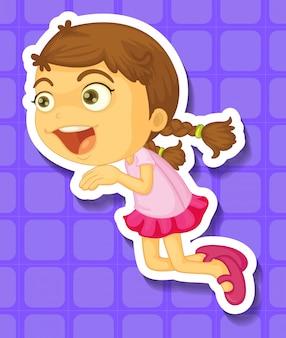 Petite fille sautant et souriant