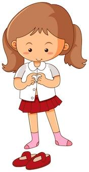 Petite fille se vêtir sur fond blanc