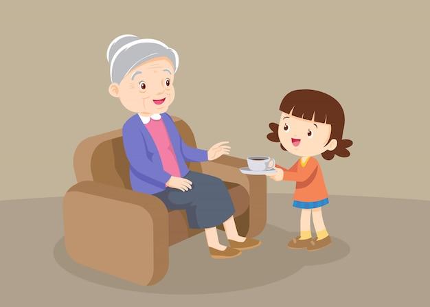 Petite-fille a servi des boissons à grand-mère