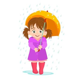Petite fille sous la pluie