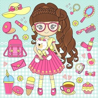 Petite fille tenant des ours en peluche avec des accessoires mignons