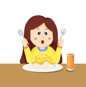 Petite fille en train de manger
