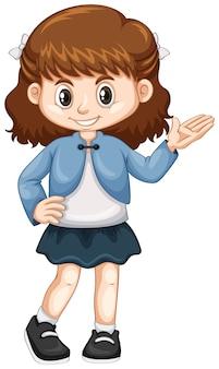 Petite fille en veste bleue