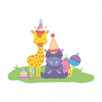 Petite girafe et hippo avec chapeaux de fête