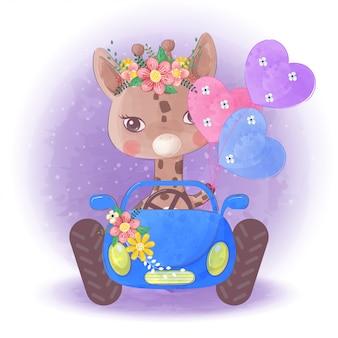 Petite girafe mignonne dessinée à la main sur une voiture bleue