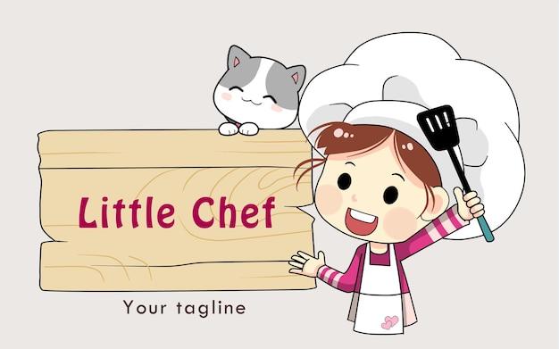 Petite illustration d'art de dessin animé de boutique de logo de fille de chef