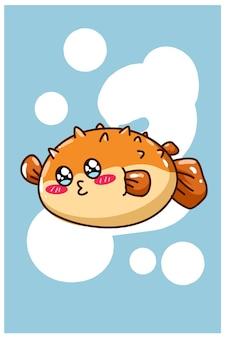 Une petite illustration de dessin animé de poisson-globe heureux