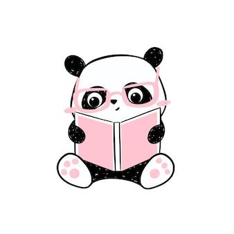Petite illustration de panda. personnage de panda mignon dessiné à la main dans des verres roses en lisant un livre.
