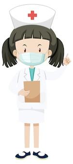Petite infirmière portant un personnage de dessin animé de masque