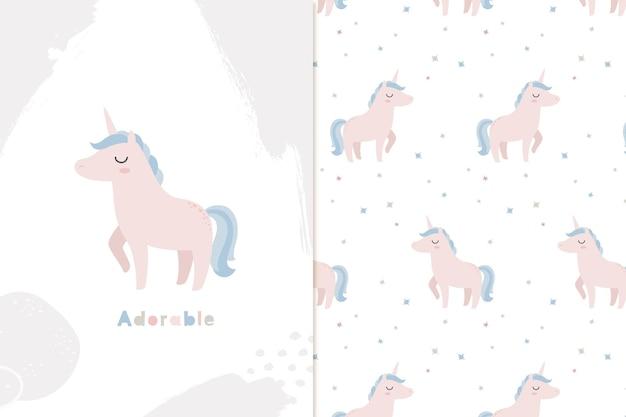 Petite licorne et modèle sans couture