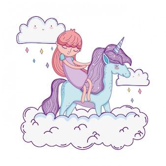 Petite licorne et princesse dans les nuages