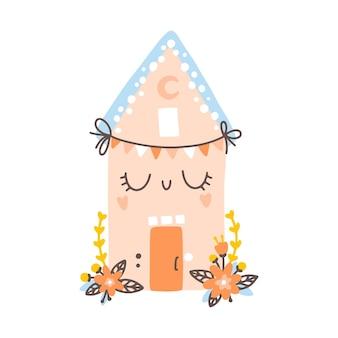 Petite maison avec affiche de boho de pépinière de fleurs