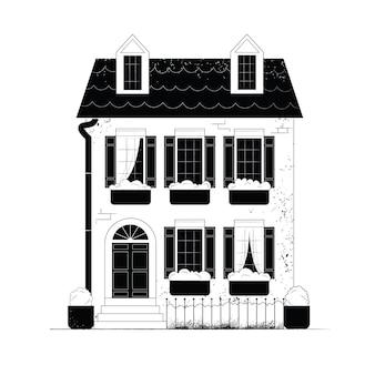 Petite maison de ville résidentielle illustration blanche et noire d'un immeuble de deux étages