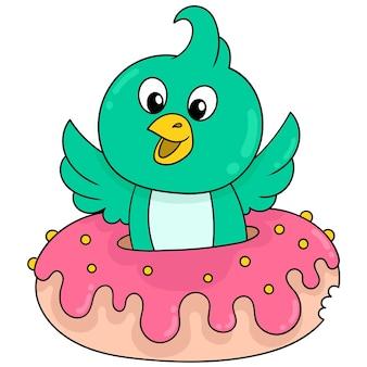 La petite perruche se cache dans le trou de beignet à la crème, art d'illustration vectorielle. doodle icône image kawaii.