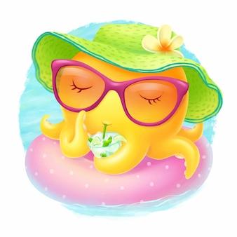 Petite pieuvre sur un anneau gonflable dans la piscine