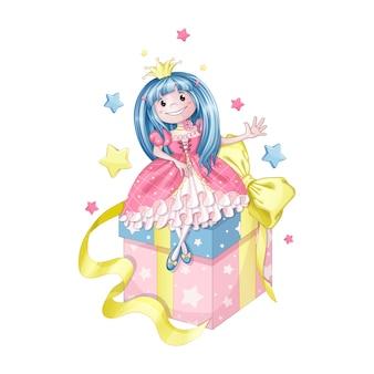Une petite princesse aux cheveux bleus