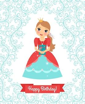 Petite princesse. carte de voeux de joyeux anniversaire avec le cadre et le ruban floraux mignons