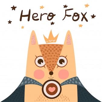 Petite princesse - illustration de renard super héros.