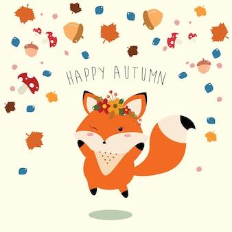 La petite renarde accueillant joyeusement l'automne