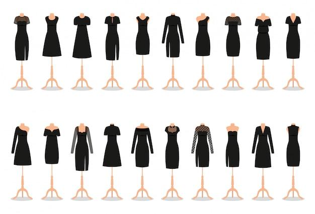 Petite robe noire sur mannequins. vêtements de femme. illustration.