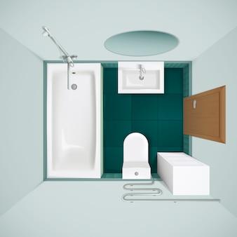 Petite salle de bain avec carrelage vert, baignoire toilettes