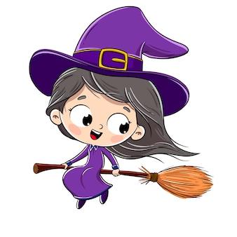 Petite sorcière sur un balai volant dans le ciel avec un fond blanc