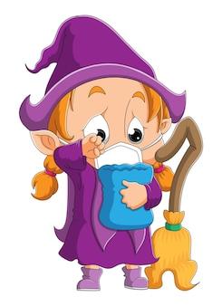 La petite sorcière malade porte un masque d'illustration