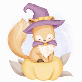 Petite sorcière renard et citrouille