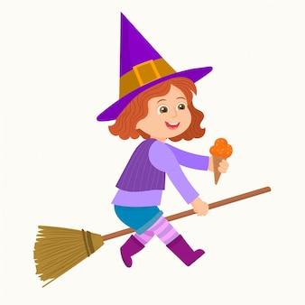 Petite sorcière volant sur un manche à balai