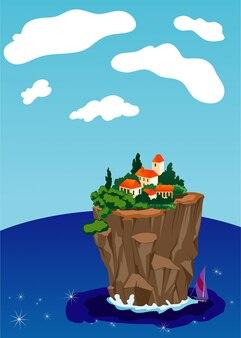 Petite ville sur l'île