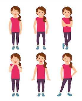 Petites émotions de filles vector illustration. dessin animé heureux et triste, émerveillement et sentiments de fille effrayés isolés