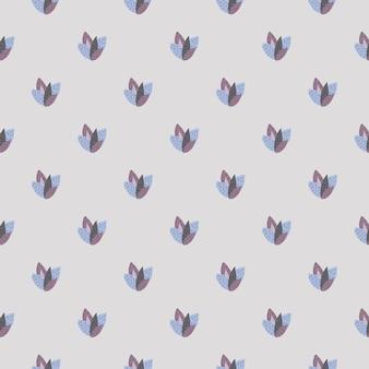 Petites Feuilles De Couleurs Marron Et Bleu Sur Modèle Sans Couture. Vecteur Premium