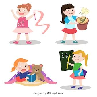 Petites filles belles qui font différentes activités de