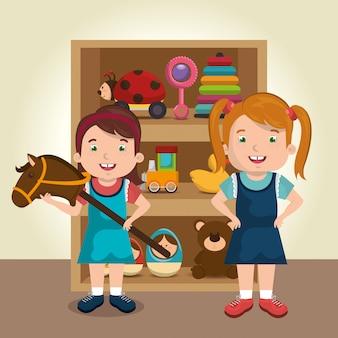 Petites filles jouant avec des personnages de jouets