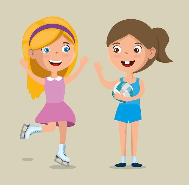 Petites filles pratiquant des sports heureux