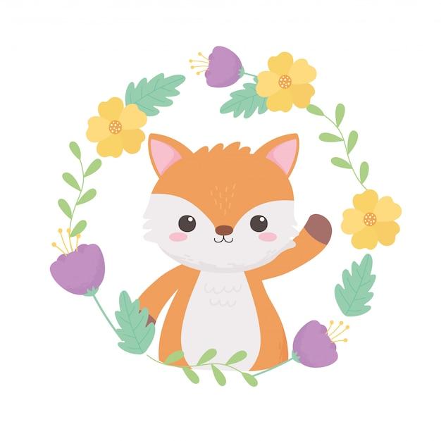 Petites fleurs de guirlande de renard feuilles illustration vectorielle de dessin animé animal
