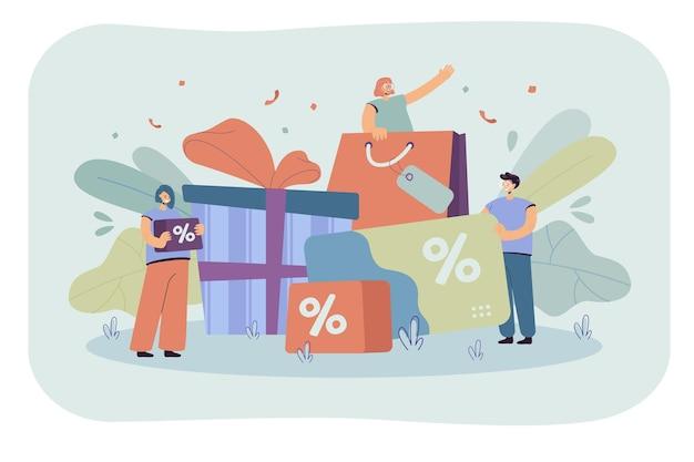 Petites personnes faisant du shopping pendant le programme de fidélité de magasin isolé illustration plate