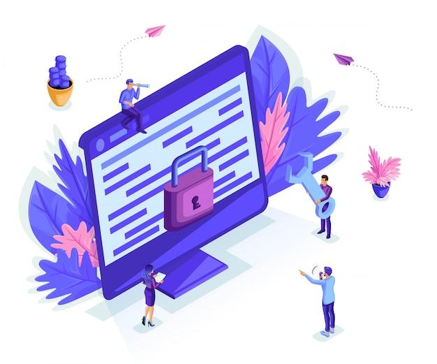 Les petites personnes isométriques travaillent avec un moniteur, concept de protection des données informatiques pour une page web