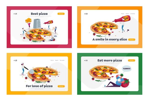 Petites personnes mangeant un ensemble de modèles de page d'atterrissage de pizza énorme