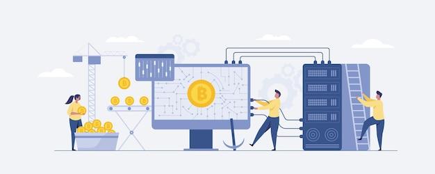 Les petites personnes qui minent des bitcoins obtiennent des bitcoins et investir dans le numérique. illustration vectorielle